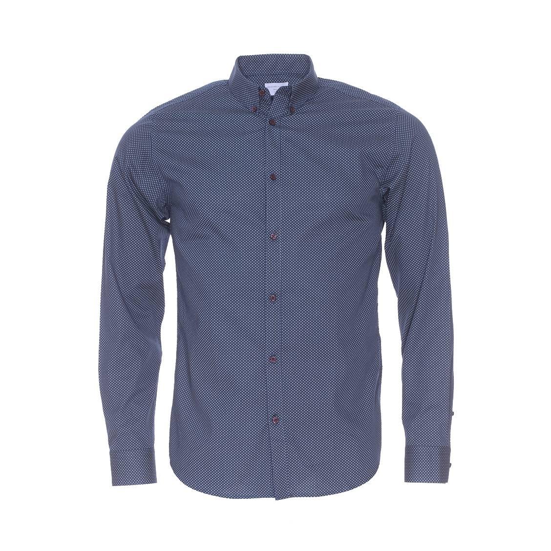 Chemise ajustée  en coton bleu marine à petits motifs blancs