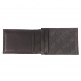 Coffret Guess : Porte-cartes à 2 volets aimantés et porte-clés en cuir et simili-cuir noir monogrammé