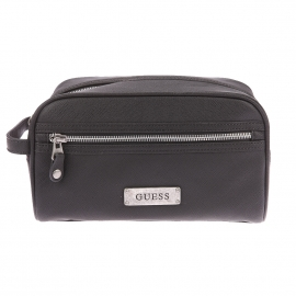 Trousse de toilette Guess en simili-cuir grainé noir