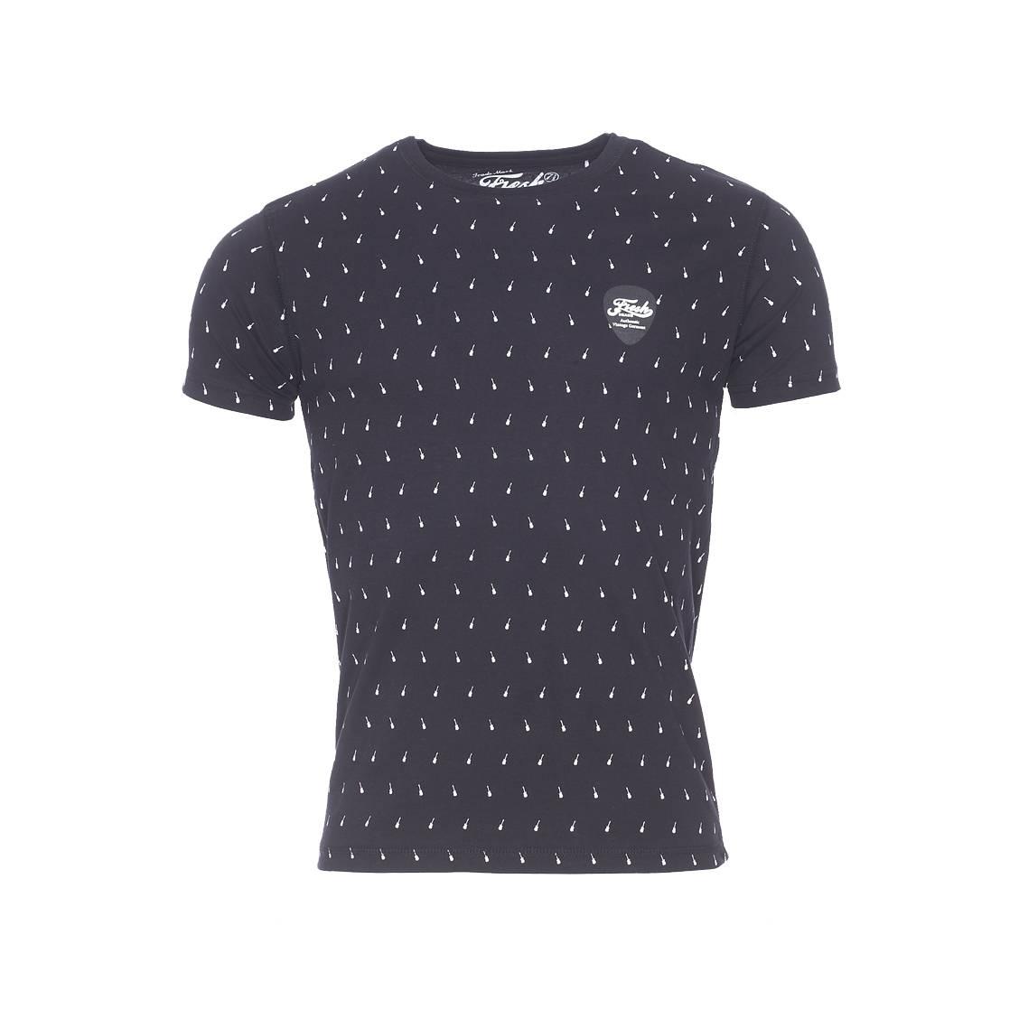 Tee shirt col rond the fresh brand en coton noir motifs for Fresh brand t shirts