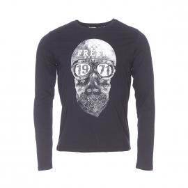 Tee-shirt manches longues col rond The Fresh Brand en coton noir à motif