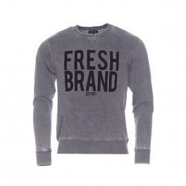 Sweat The Fresh Brand gris vintage floqué en velours noir
