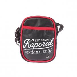 Petite sacoche Kaporal en simili-cuir noir avec liserés rouges et imprimé à l'avant