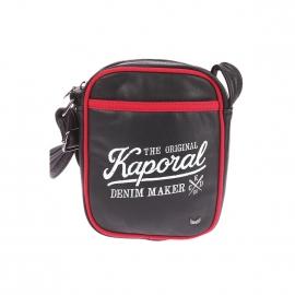 Sacoche Kaporal en simili-cuir noir avec liserés rouges et imprimé à l'avant