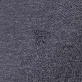 Polo manches longues Gant gris anthracite chiné à col bleu marine