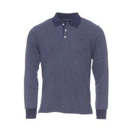 Polo manches longues Gant en coton bleu marine à motif pinpoint blanc