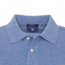 Polo Gant en coton piqué bleu glacé chiné