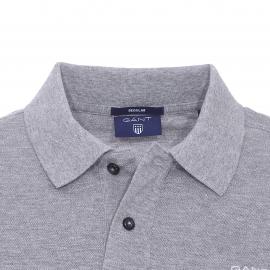 Polo Gant en coton piqué gris chiné