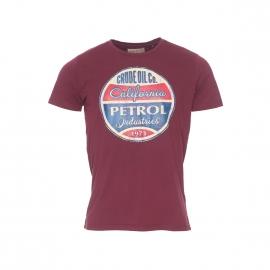 Tee-shirt col rond Petrol Industries en coton bordeaux à floquage vintage
