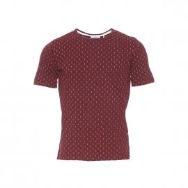 Tee-shirt col rond Delta Minimum en coton bordeaux à motifs flèches blanches