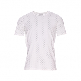 Tee-shirt col rond Delta Minimum en coton blanc à motifs flèches bleu marine