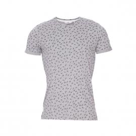 Tee-shirt col rond Oxley Minimum en coton gris chiné à motifs feuilles