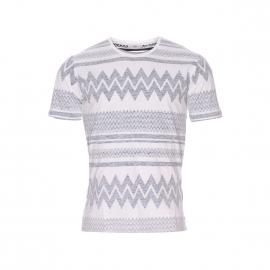 Tee-shirt col rond Tatipu Minimum en coton blanc à motif tribal bleu marine, effet retourné