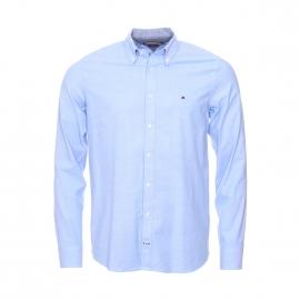 Chemise cintrée Tommy Hilfiger en coton stretch bleu ciel, tissage fil à fil