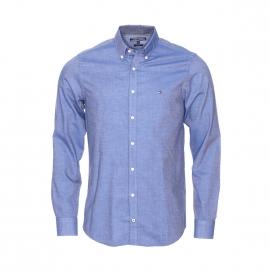 Chemise cintrée Tommy Hilfiger en coton bleu jean, tissage fil à fil