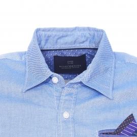 Chemise ajustée Scotch & Soda en coton fil à fil bleu