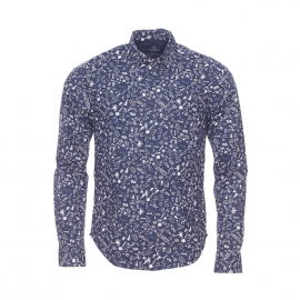Chemise ajustée Scotch & Soda en coton bleu marine à motifs blancs