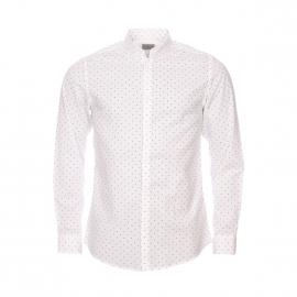 Chemise cintrée Selected en coton blanc à motifs noirs