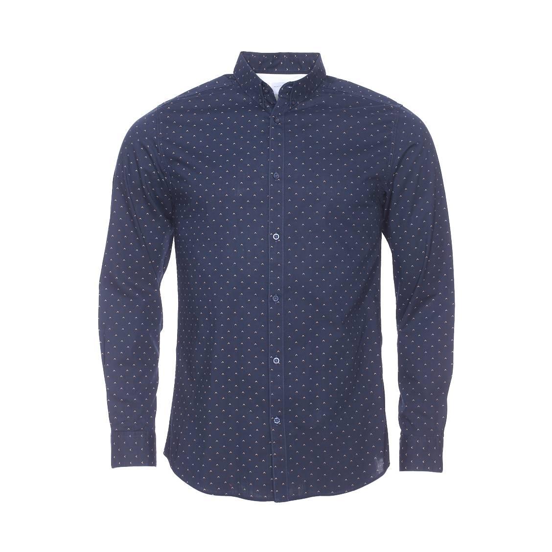 Chemise cintrée  en coton bleu marine à motifs marron