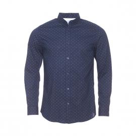 Chemise cintrée Selected en coton bleu marine à motifs marron