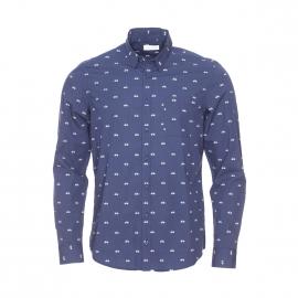 Chemise ajustée Osvaldo Harris Wilson en coton bleu marine à motifs vélos bleu clair