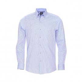 Chemise droite Pierre Cardin bleu ciel à fines rayures bleu marine et petits motifs blancs