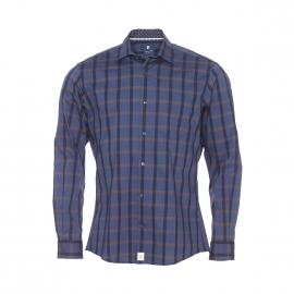 Chemise ajustée Pierre Cardin en coton stretch bleu marine à carreaux noirs et marrons