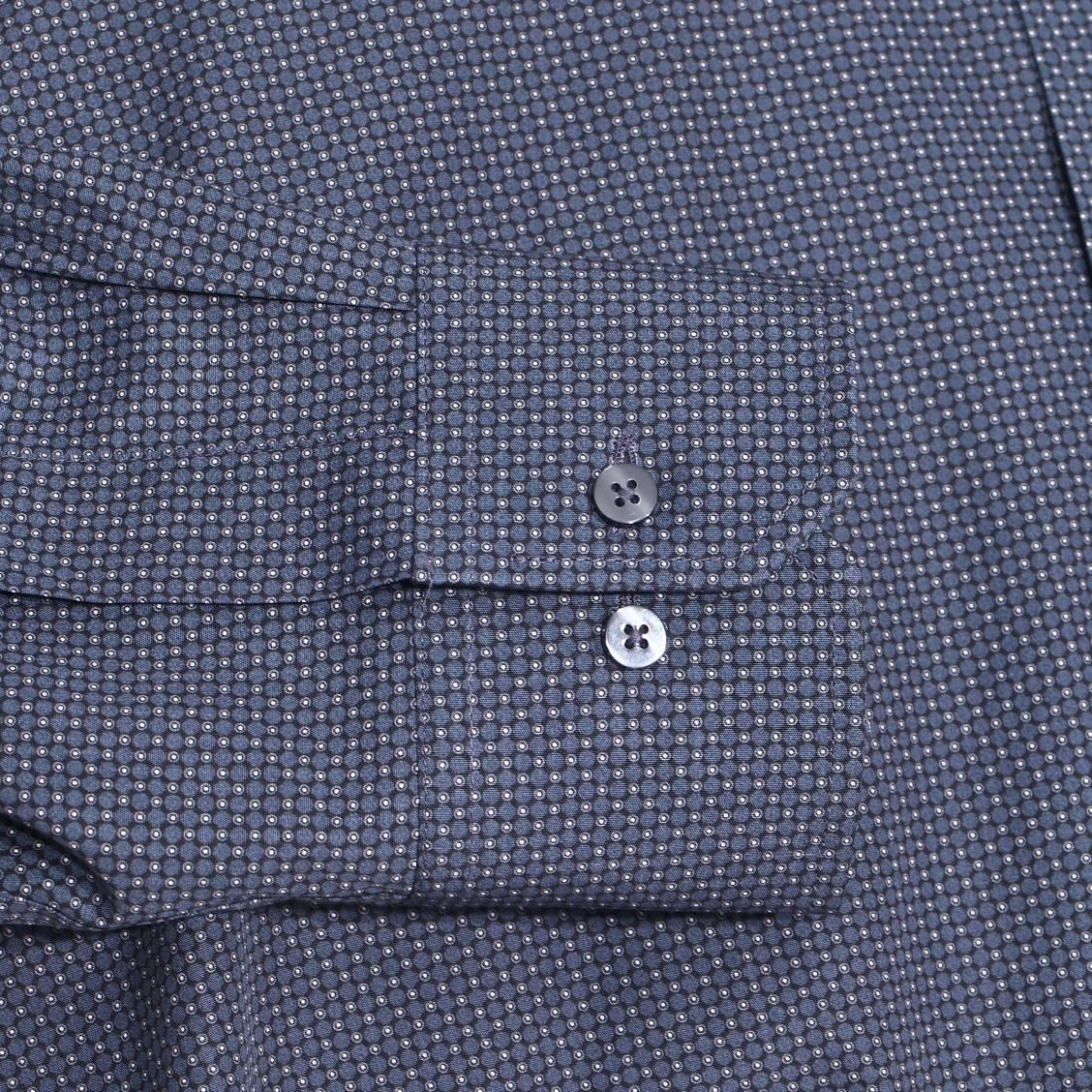 chemise droite eterna en coton noir petits pois bleu marine gris anthracite et blancs rue. Black Bedroom Furniture Sets. Home Design Ideas