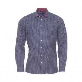 Chemise droite Jean Chatel en coton bleu marine à pois blancs et petits motifs blancs et bordeaux