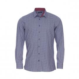 Chemise droite Jean Chatel en coton bleu marine à petits motifs blancs et bordeaux