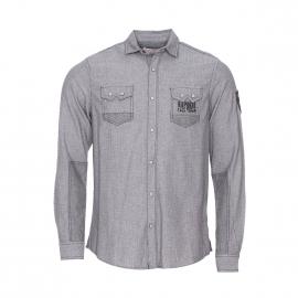 Chemise ajustée Kaporal en coton gris anthracite à petits motifs blancs
