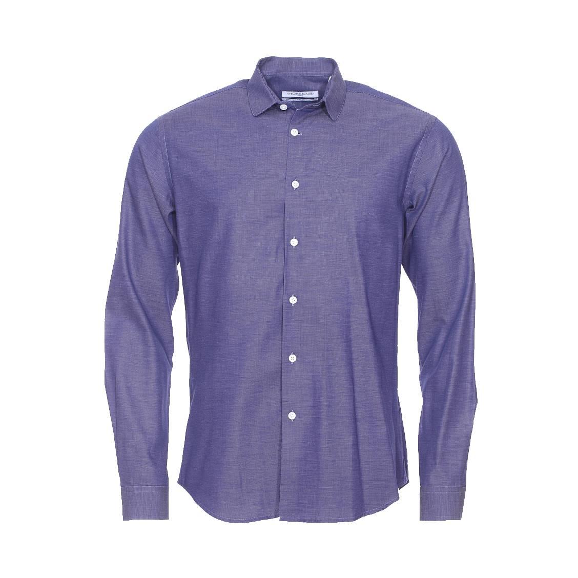 chemise droite monsieur paris fil fil bleu fonc et blanc petit col rue des hommes. Black Bedroom Furniture Sets. Home Design Ideas