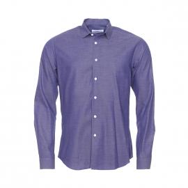 Chemise droite Monsieur Paris fil à fil bleu foncé et blanc à petit col