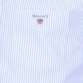 Chemise droite Gant en coton à rayures bleu ciel et blanches