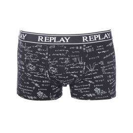 Boxer Replay en coton stretch noir à motifs mathématiques blancs