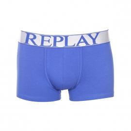 Boxer Replay en coton stretch bleu cobalt  à large ceinture argentée