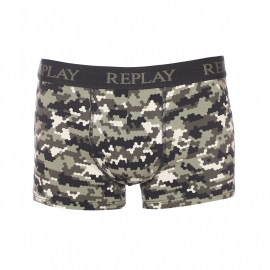 Boxer Replay en coton stretch noir à motifs camouflage kaki