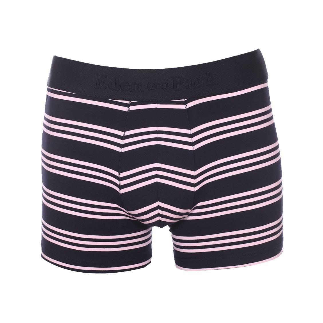 Boxer long  en coton stretch bleu marine à rayures rose pâle