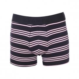 Boxer long Eden Park en coton stretch bleu marine à rayures rose pâle