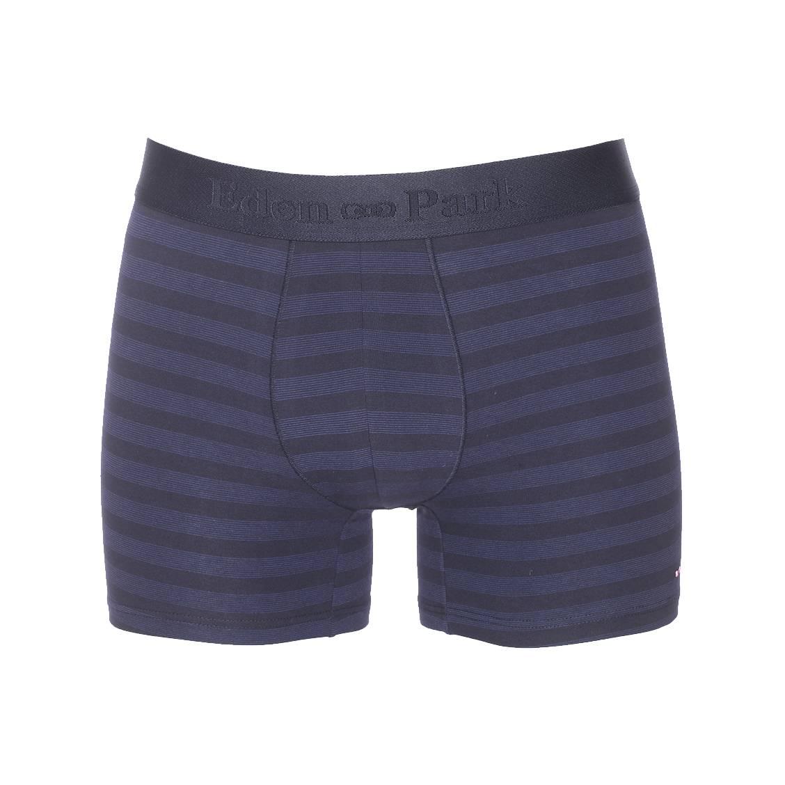 Boxer long  en coton stretch bleu marine à fines rayures bleu indigo