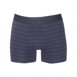 Boxer long Eden Park en coton stretch bleu marine à fines rayures bleu indigo