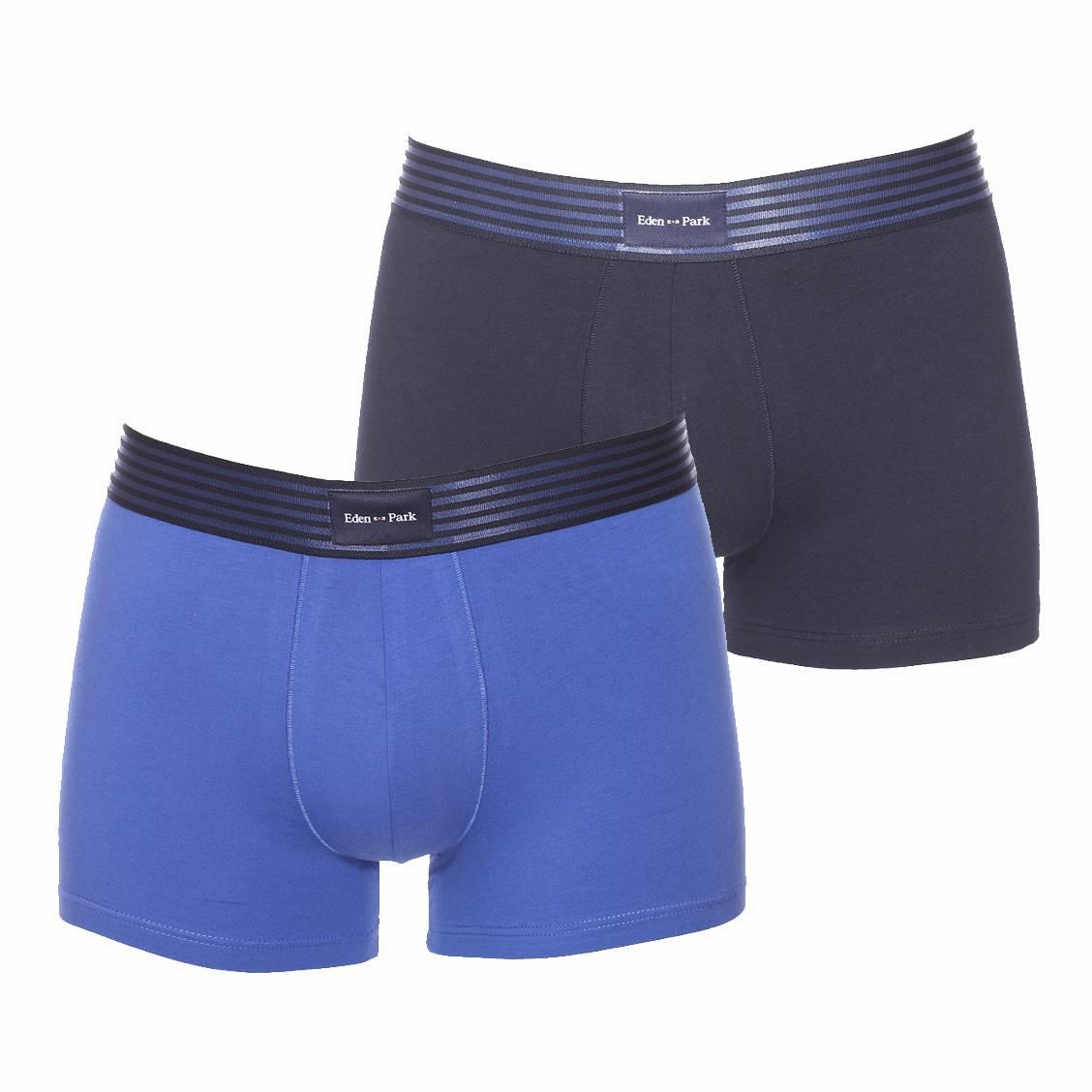 Lot de 2 boxers  en coton stretch bleu marine et bleu cobalt à ceinture rayée