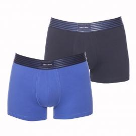 Lot de 2 boxers Eden Park en coton stretch bleu marine et bleu cobalt à ceinture rayée