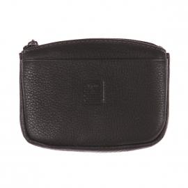 Porte-monnaie Serge blanco en cuir grainé noir