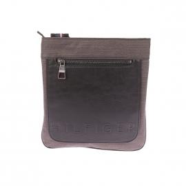 Sacoche plate Tommy Hilfiger en tissu gris anthracite et empiècement en simili-cuir noir