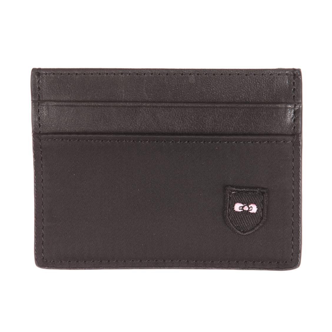 Porte-carte  noir en cuir et toile
