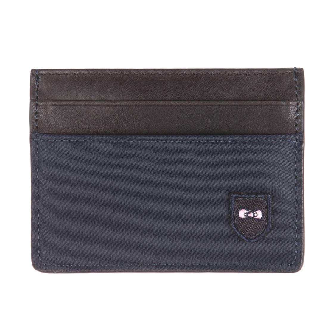 Porte-cartes  bicolore noir et bleu marine en cuir et toile