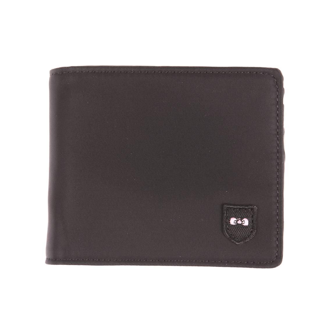 Portefeuille italien 3 volets  en toile noire, porte-monnaie zippé