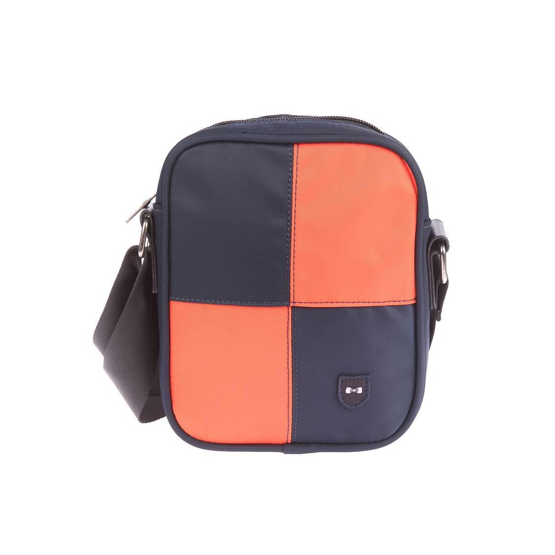 Sacoche zippée porté croisé  en toile à damier orange et bleu marine