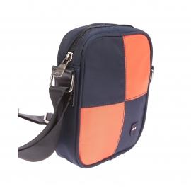 Sacoche zippée porté croisé Eden Park en toile à damier orange et bleu marine